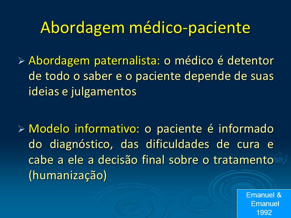 Abordagem médico-paciente Abordagem paternalista: o médico é detentor de todo o saber e o paciente depende de suas ideias e julgamentos Abordagem pate