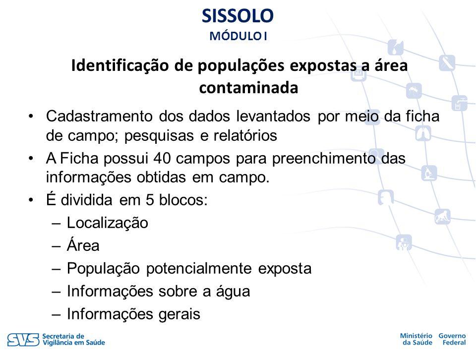 Identificação de populações expostas a área contaminada Cadastramento dos dados levantados por meio da ficha de campo; pesquisas e relatórios A Ficha