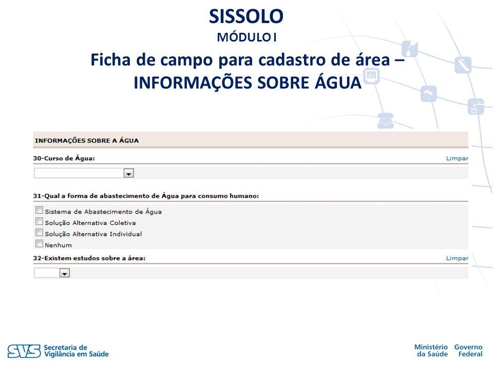 SISSOLO MÓDULO I Ficha de campo para cadastro de área – INFORMAÇÕES SOBRE ÁGUA