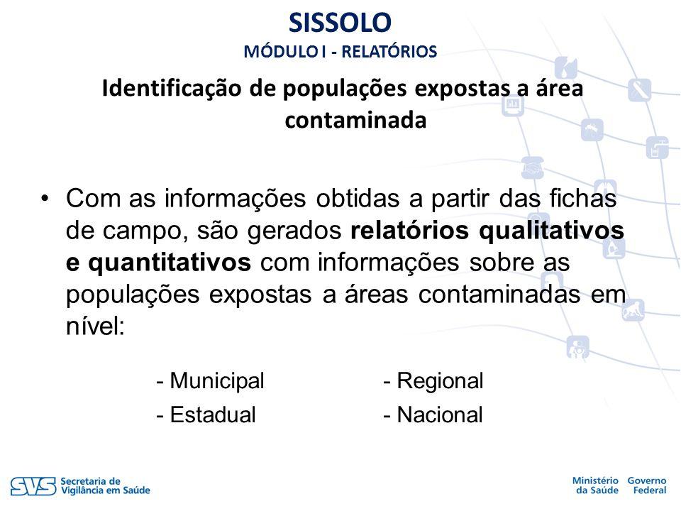Identificação de populações expostas a área contaminada SISSOLO MÓDULO I - RELATÓRIOS Com as informações obtidas a partir das fichas de campo, são ger
