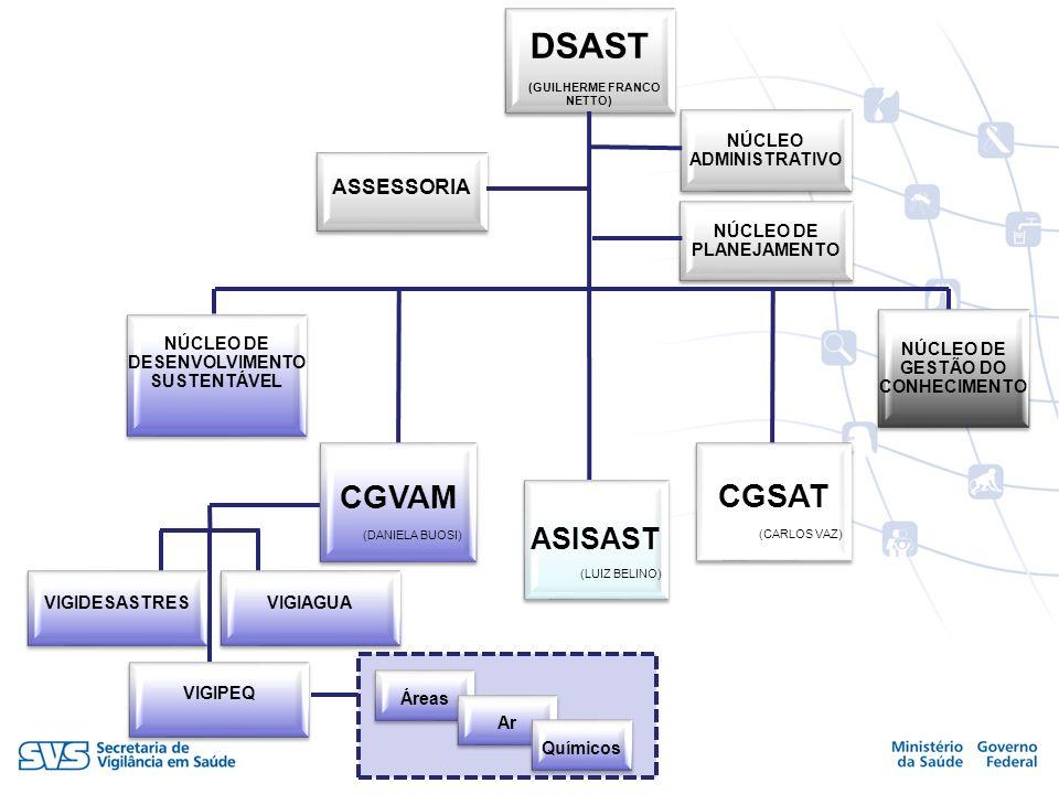 DSAST (GUILHERME FRANCO NETTO) ASSESSORIA NÚCLEO ADMINISTRATIVO NÚCLEO DE PLANEJAMENTO NÚCLEO DE DESENVOLVIMENTO SUSTENTÁVEL CGSAT (CARLOS VAZ) NÚCLEO