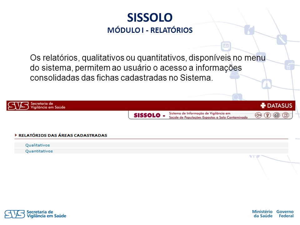 Os relatórios, qualitativos ou quantitativos, disponíveis no menu do sistema, permitem ao usuário o acesso a informações consolidadas das fichas cadas