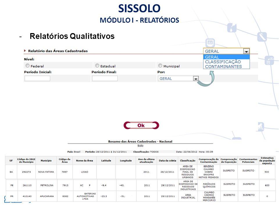 -Relatórios Qualitativos SISSOLO MÓDULO I - RELATÓRIOS