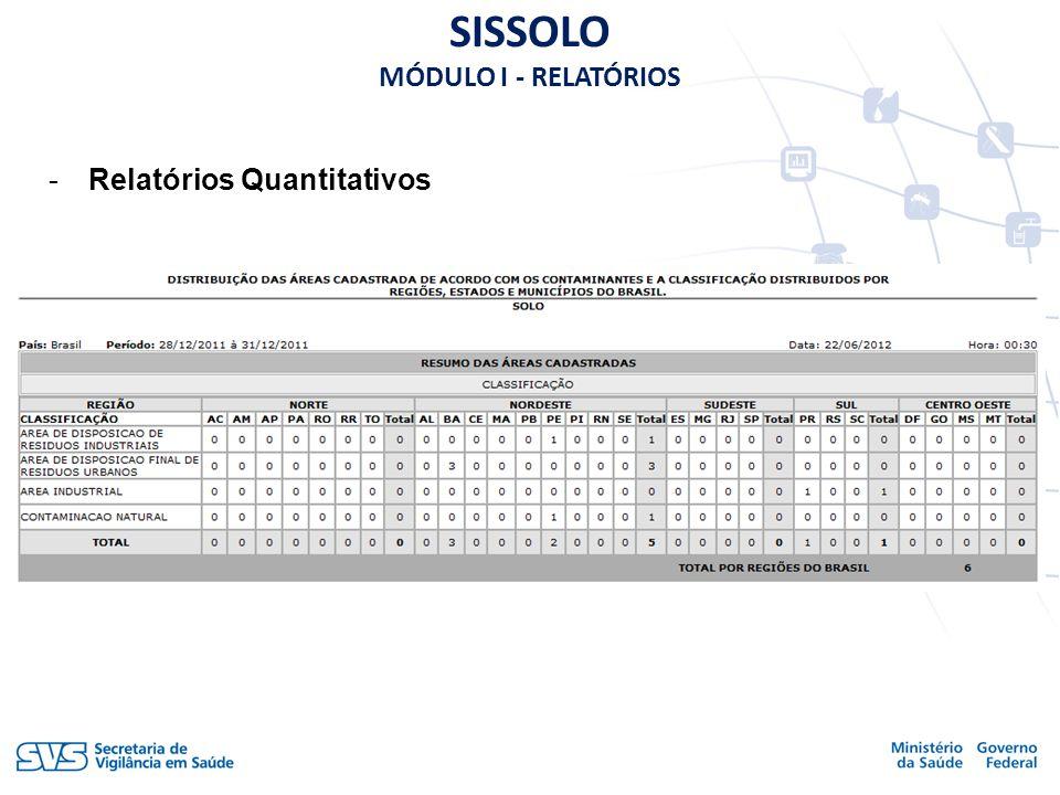 -Relatórios Quantitativos SISSOLO MÓDULO I - RELATÓRIOS
