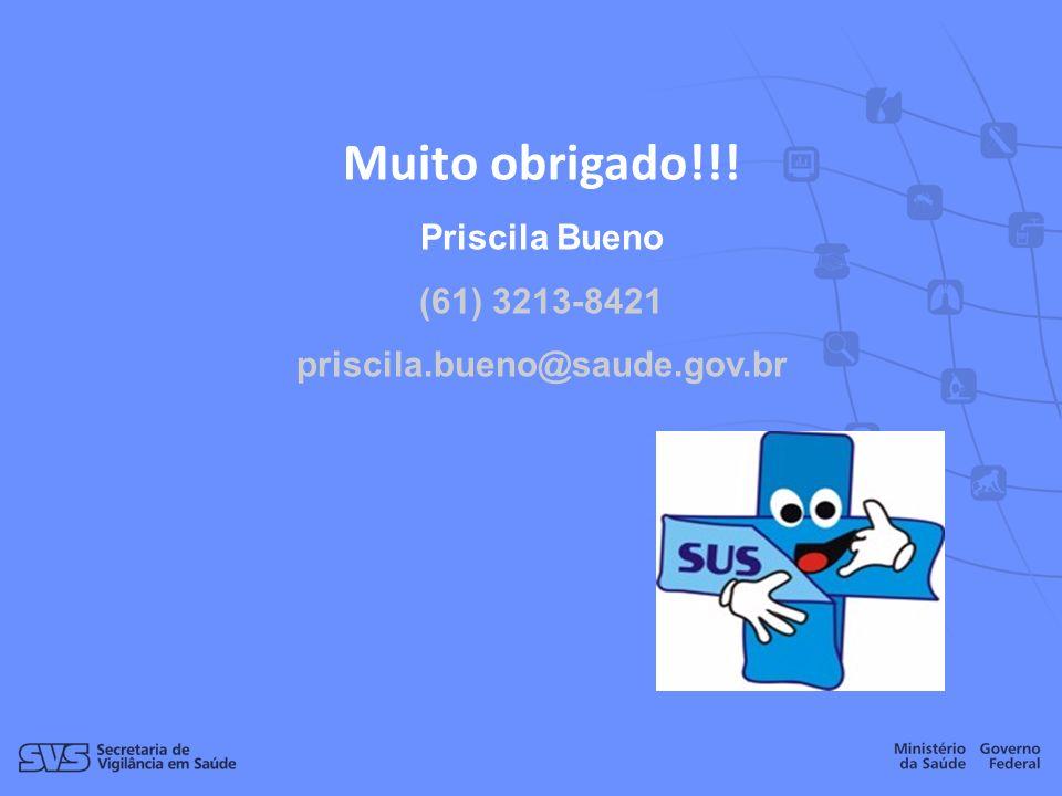 Muito obrigado!!! Priscila Bueno (61) 3213-8421 priscila.bueno@saude.gov.br
