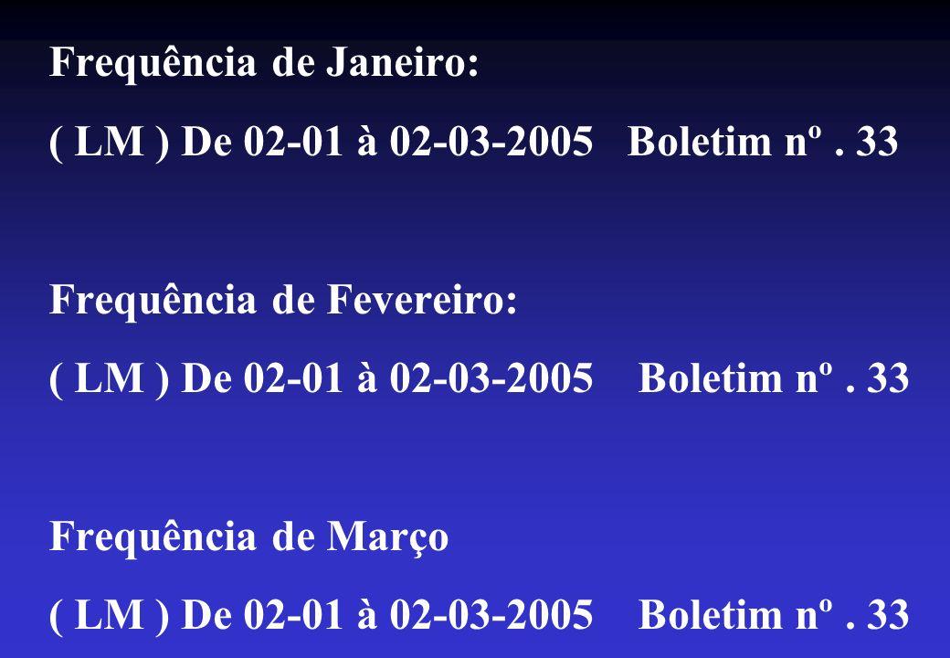 FULANO DE TAL Licença médica De 02-01-2005 à 02-03-2005 Boletim medico nº 33