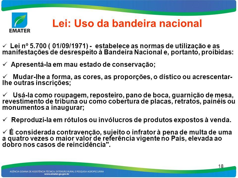 18 Lei: Uso da bandeira nacional Lei nº 5.700 ( 01/09/1971) - estabelece as normas de utilização e as manifestações de desrespeito à Bandeira Nacional
