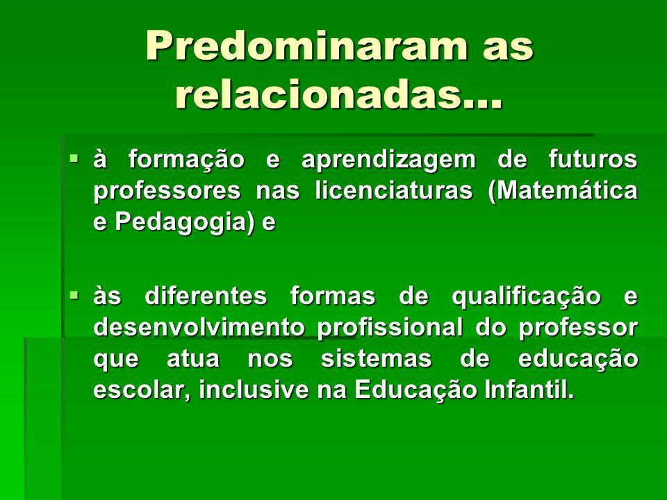 Predominaram as relacionadas... à formação e aprendizagem de futuros professores nas licenciaturas (Matemática e Pedagogia) e à formação e aprendizage