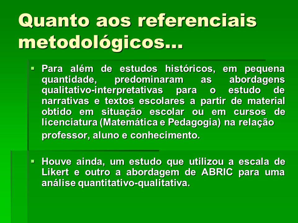 Quanto aos referenciais metodológicos... Para além de estudos históricos, em pequena quantidade, predominaram as abordagens qualitativo-interpretativa