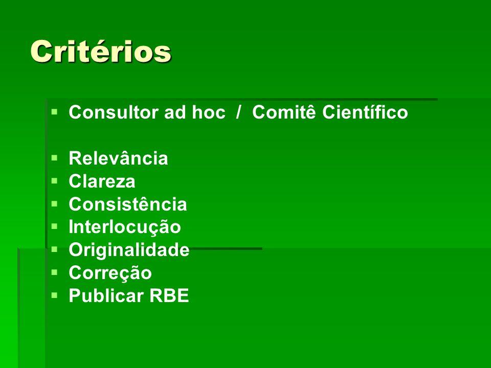 Critérios Consultor ad hoc / Comitê Científico Relevância Clareza Consistência Interlocução Originalidade Correção Publicar RBE