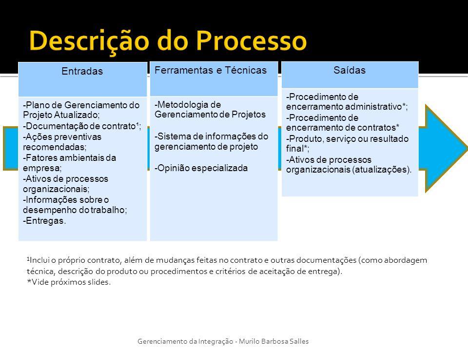 Entradas -Plano de Gerenciamento do Projeto Atualizado; -Documentação de contrato¹; -Ações preventivas recomendadas; -Fatores ambientais da empresa; -