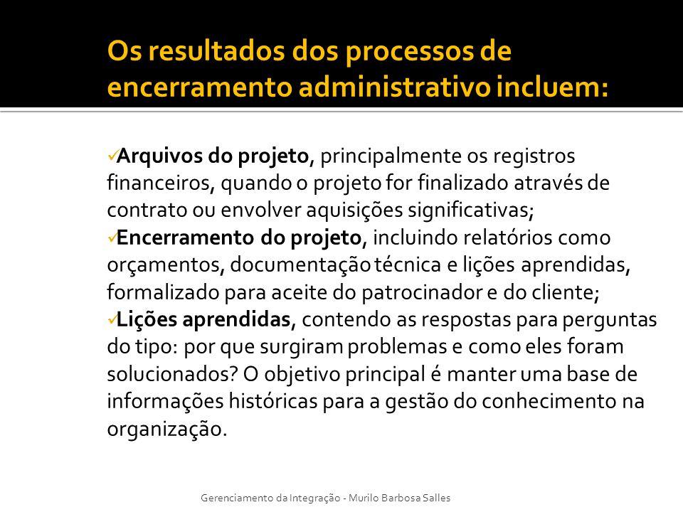 Os resultados dos processos de encerramento administrativo incluem: Arquivos do projeto, principalmente os registros financeiros, quando o projeto for