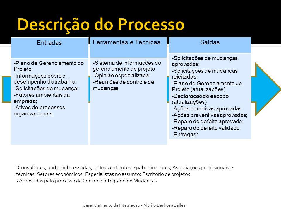 Entradas -Plano de Gerenciamento do Projeto -Informações sobre o desempenho do trabalho; -Solicitações de mudança; -Fatores ambientais da empresa; -At