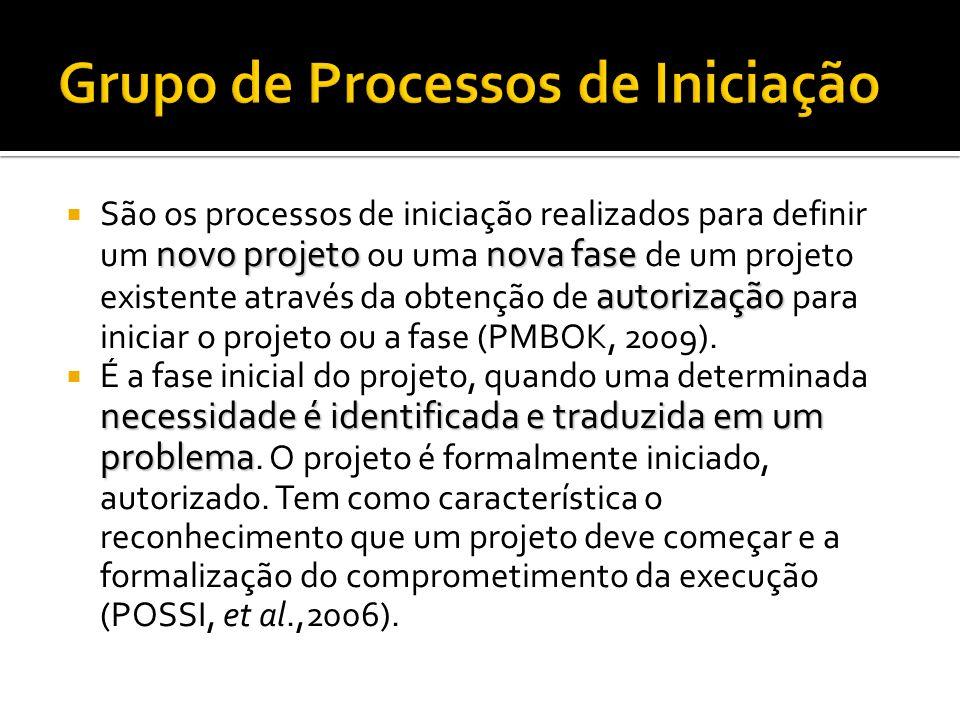Os Processos de Gerenciamento de Projetos são agrupados em cinco categorias, conhecidas como grupos de processos de gerenciamento de projetos (ou simplesmente grupos de processos)