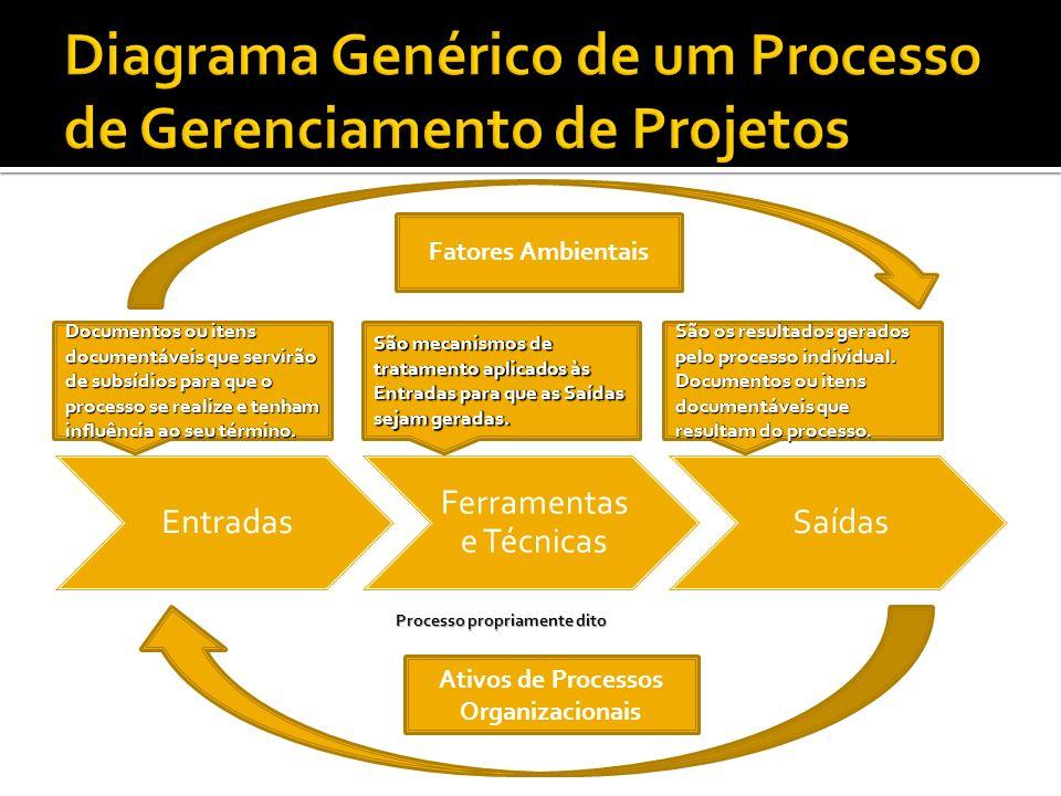 Entradas Ferramentas e Técnicas Saídas Fatores Ambientais Ativos de Processos Organizacionais Documentos ou itens documentáveis que servirão de subsídios para que o processo se realize e tenham influência ao seu término.