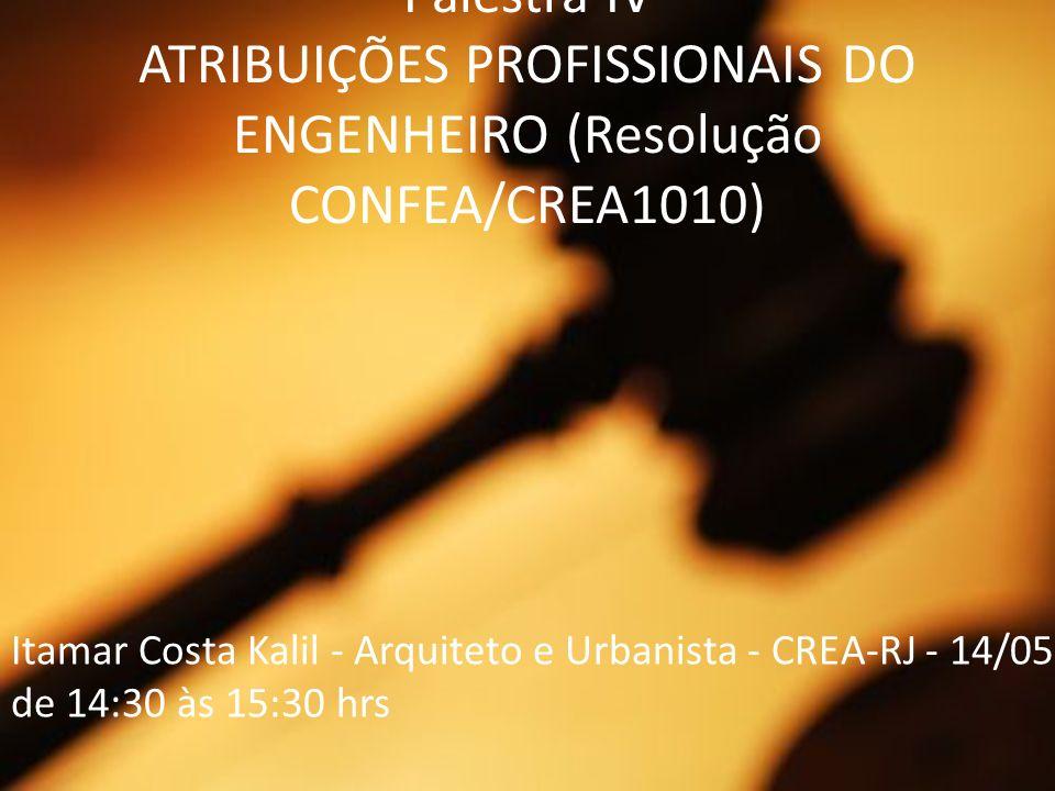 Palestra IV ATRIBUIÇÕES PROFISSIONAIS DO ENGENHEIRO (Resolução CONFEA/CREA1010) Itamar Costa Kalil - Arquiteto e Urbanista - CREA-RJ - 14/05 de 14:30