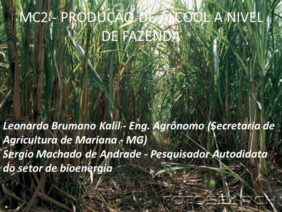 MC2 - PRODUÇÃO DE ÁLCOOL A NIVEL DE FAZENDA Leonardo Brumano Kalil - Eng. Agrônomo (Secretaria de Agricultura de Mariana - MG) Sergio Machado de Andra