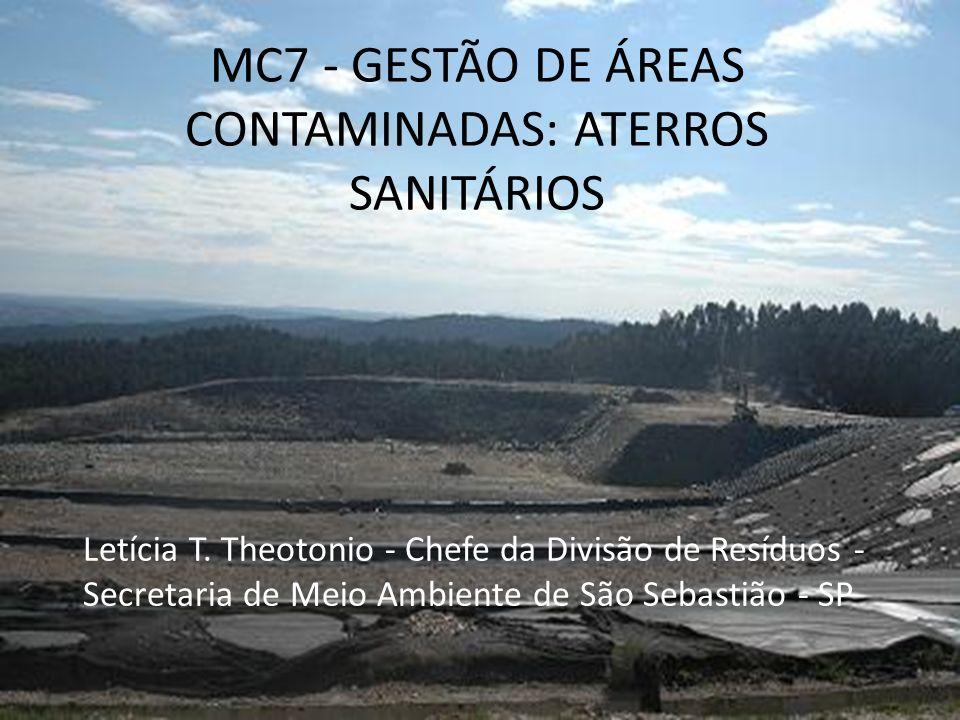 MC7 - GESTÃO DE ÁREAS CONTAMINADAS: ATERROS SANITÁRIOS Letícia T. Theotonio - Chefe da Divisão de Resíduos - Secretaria de Meio Ambiente de São Sebast