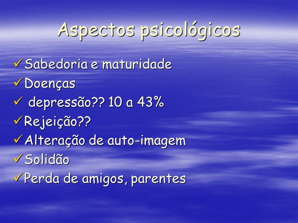 Aspectos psicológicos Sabedoria e maturidade Sabedoria e maturidade Doenças Doenças depressão?? 10 a 43% depressão?? 10 a 43% Rejeição?? Rejeição?? Al