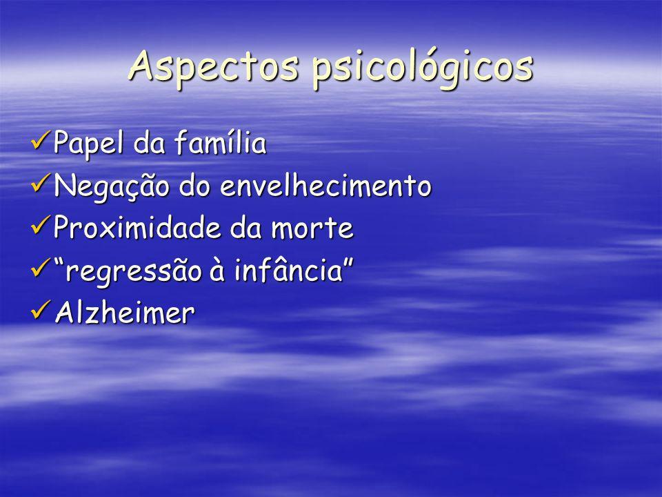 Aspectos psicológicos Papel da família Papel da família Negação do envelhecimento Negação do envelhecimento Proximidade da morte Proximidade da morte