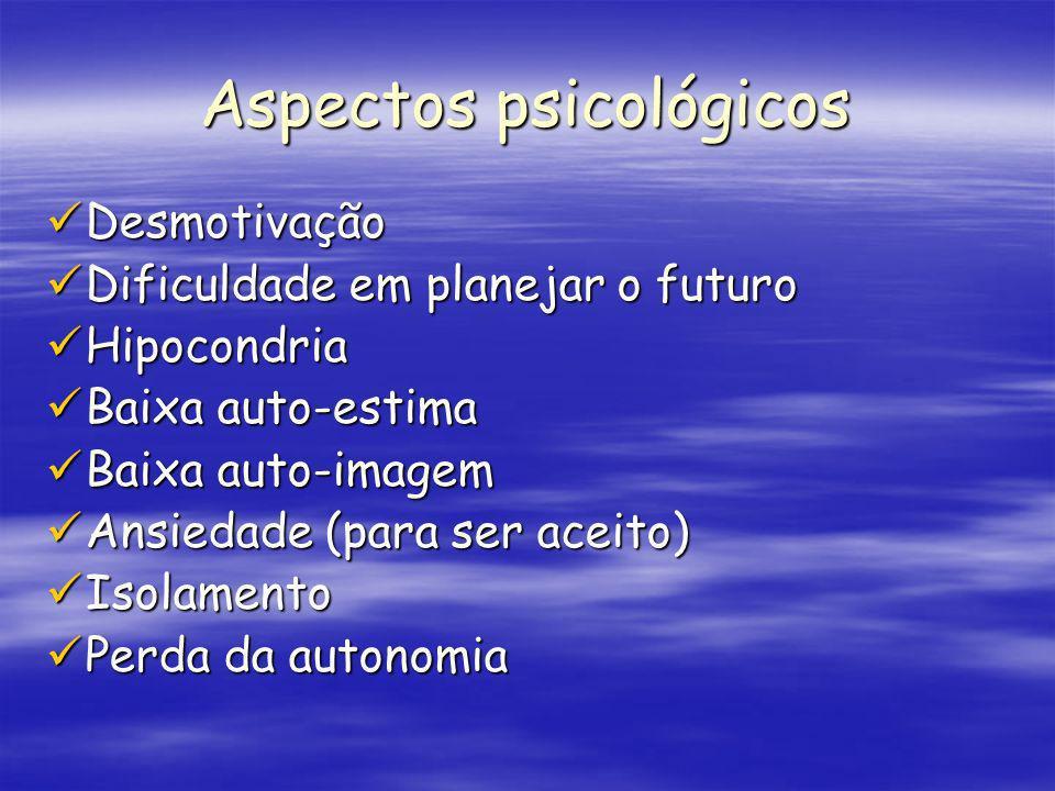 Aspectos psicológicos Desmotivação Desmotivação Dificuldade em planejar o futuro Dificuldade em planejar o futuro Hipocondria Hipocondria Baixa auto-e