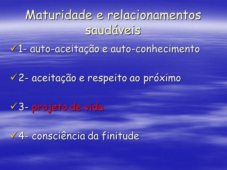 Maturidade e relacionamentos saudáveis 1- auto-aceitação e auto-conhecimento 1- auto-aceitação e auto-conhecimento 2- aceitação e respeito ao próximo