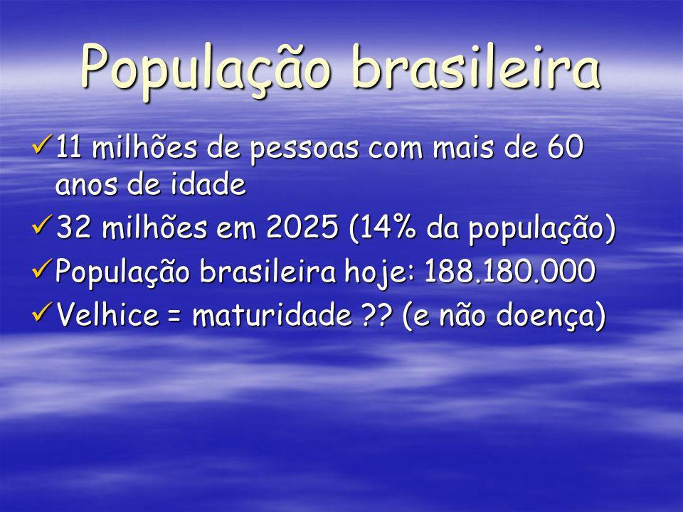 População brasileira 11 milhões de pessoas com mais de 60 anos de idade 11 milhões de pessoas com mais de 60 anos de idade 32 milhões em 2025 (14% da