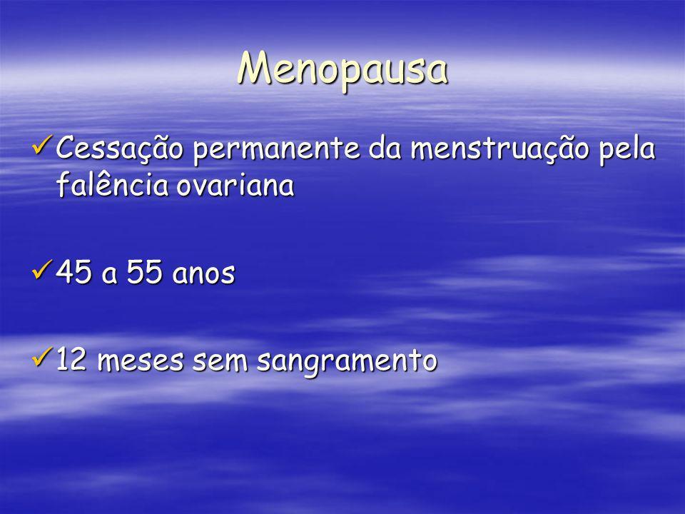 Menopausa Cessação permanente da menstruação pela falência ovariana Cessação permanente da menstruação pela falência ovariana 45 a 55 anos 45 a 55 ano