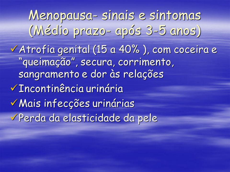Menopausa- sinais e sintomas (Médio prazo- após 3-5 anos) Atrofia genital (15 a 40% ), com coceira e queimação, secura, corrimento, sangramento e dor