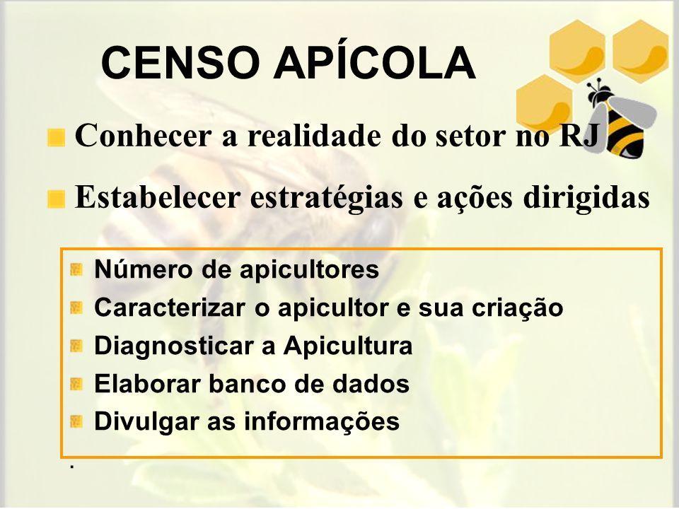 Entre 31 e 40 apicultores Até 10 apicultores Número de apicultores nos municípios do estado do Rio de Janeiro (2006) Entre 11 e 20 apicultores Entre 21 e 30 apicultores Entre 41 e 50 apicultores Mais de 50 apicultores