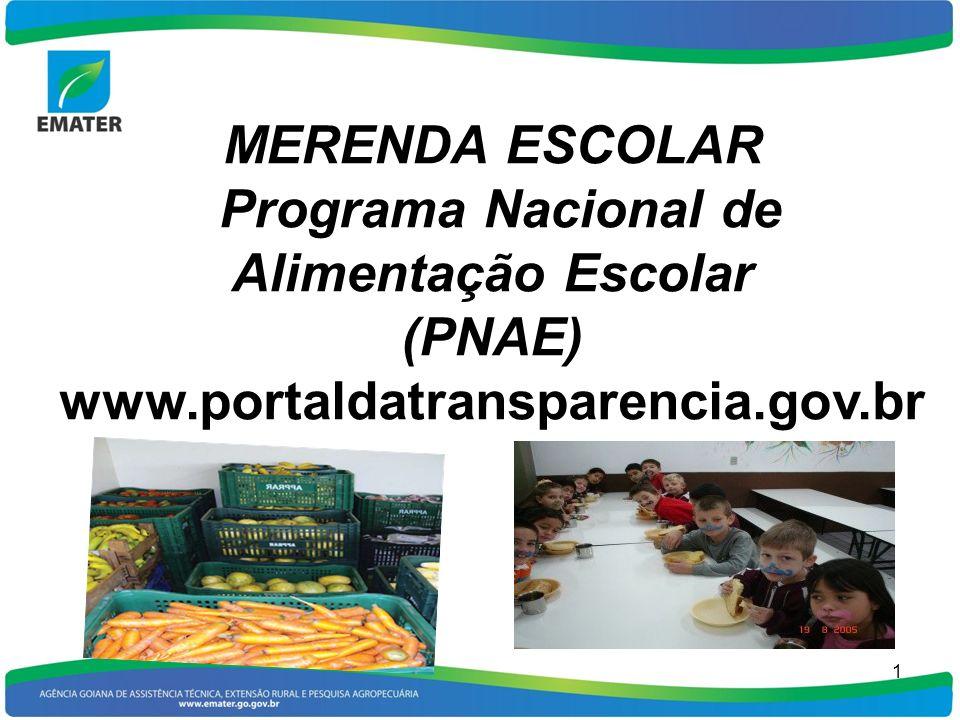 1 MERENDA ESCOLAR Programa Nacional de Alimentação Escolar (PNAE) www.portaldatransparencia.gov.br