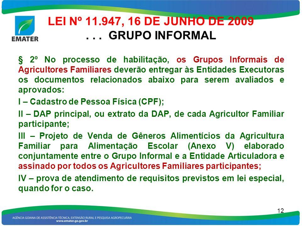 LEI Nº 11.947, 16 DE JUNHO DE 2009... GRUPO INFORMAL § 2º No processo de habilitação, os Grupos Informais de Agricultores Familiares deverão entregar