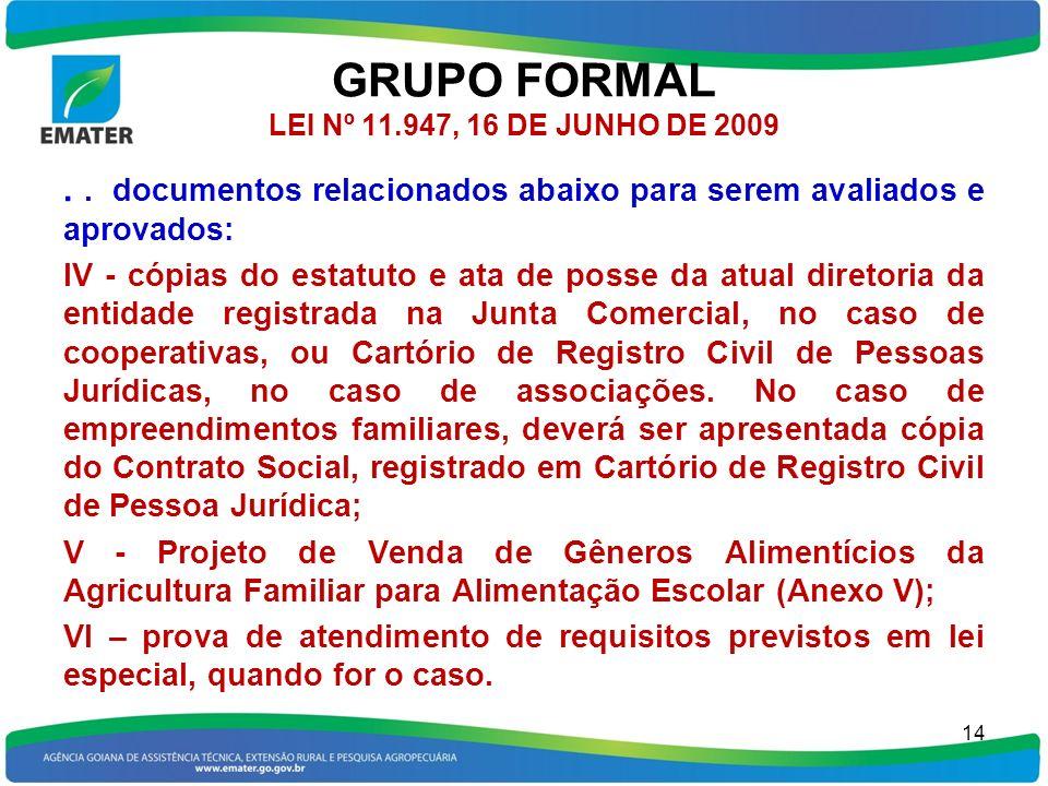 GRUPO FORMAL LEI Nº 11.947, 16 DE JUNHO DE 2009.. documentos relacionados abaixo para serem avaliados e aprovados: IV - cópias do estatuto e ata de po