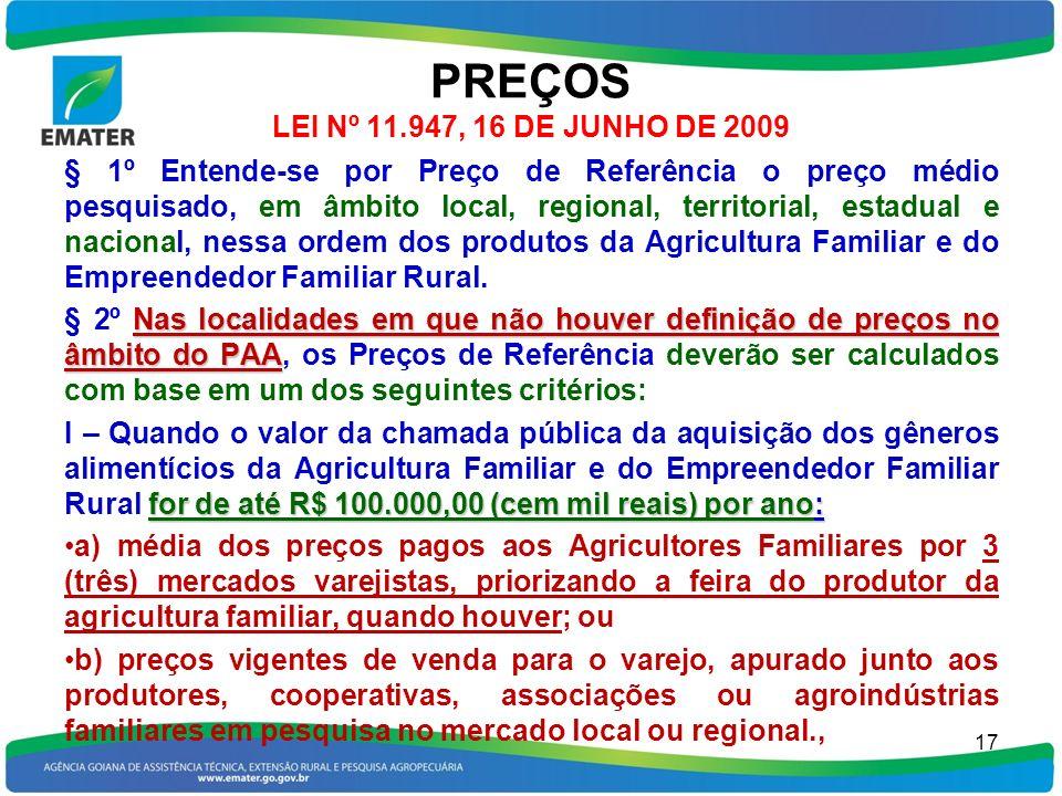 PREÇOS LEI Nº 11.947, 16 DE JUNHO DE 2009 § 1º Entende-se por Preço de Referência o preço médio pesquisado, em âmbito local, regional, territorial, es