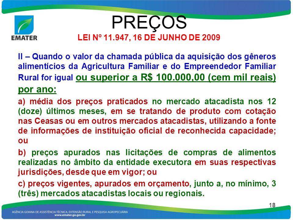 PREÇOS LEI Nº 11.947, 16 DE JUNHO DE 2009 II – Quando o valor da chamada pública da aquisição dos gêneros alimentícios da Agricultura Familiar e do Em