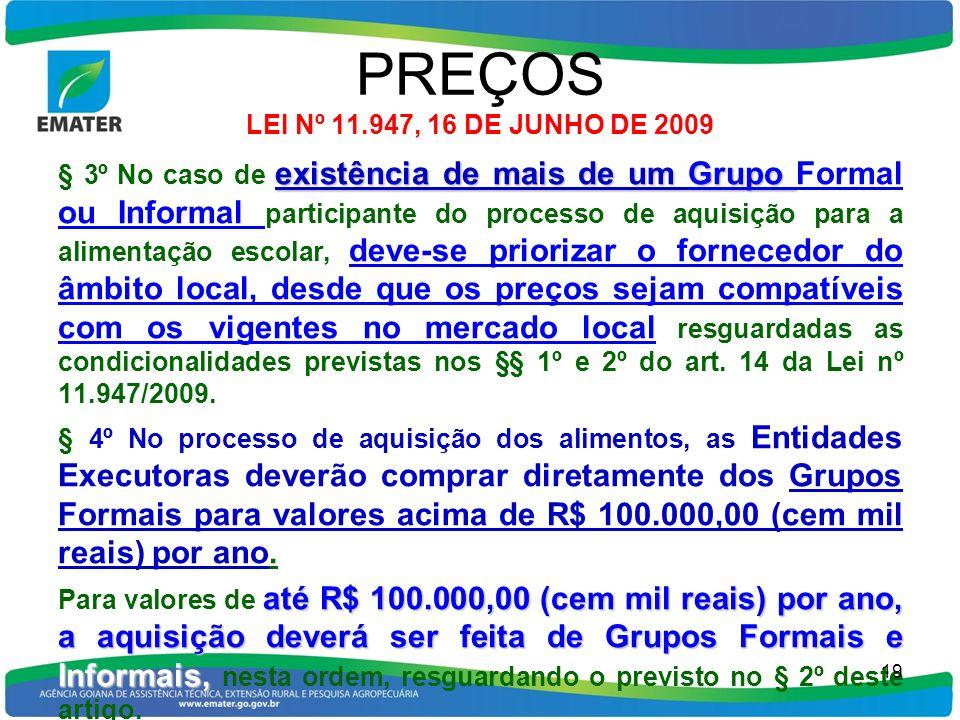 PREÇOS LEI Nº 11.947, 16 DE JUNHO DE 2009 existência de mais de um Grupo § 3º No caso de existência de mais de um Grupo Formal ou Informal participant