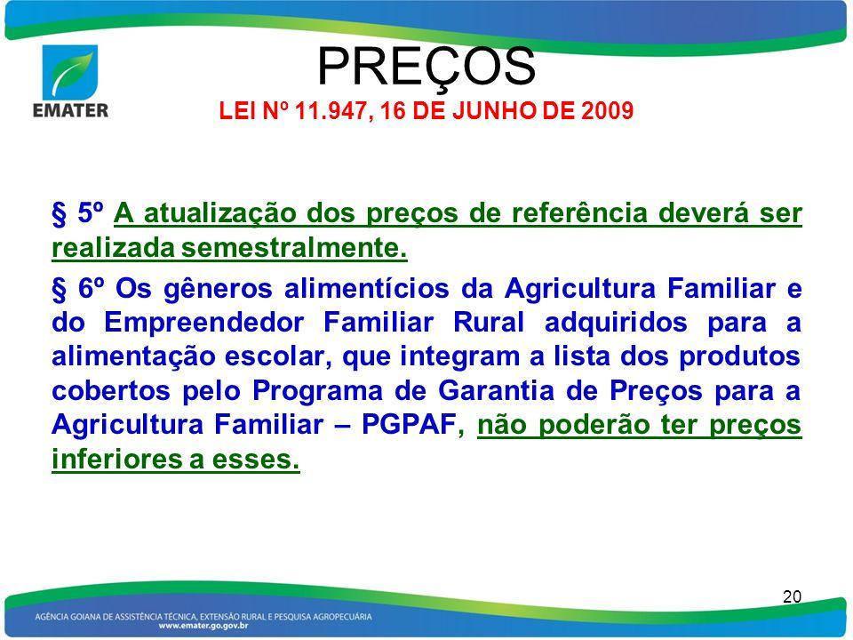 PREÇOS LEI Nº 11.947, 16 DE JUNHO DE 2009 § 5º A atualização dos preços de referência deverá ser realizada semestralmente. § 6º Os gêneros alimentício