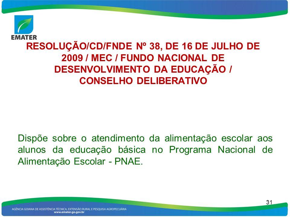 RESOLUÇÃO/CD/FNDE Nº 38, DE 16 DE JULHO DE 2009 / MEC / FUNDO NACIONAL DE DESENVOLVIMENTO DA EDUCAÇÃO / CONSELHO DELIBERATIVO Dispõe sobre o atendimen