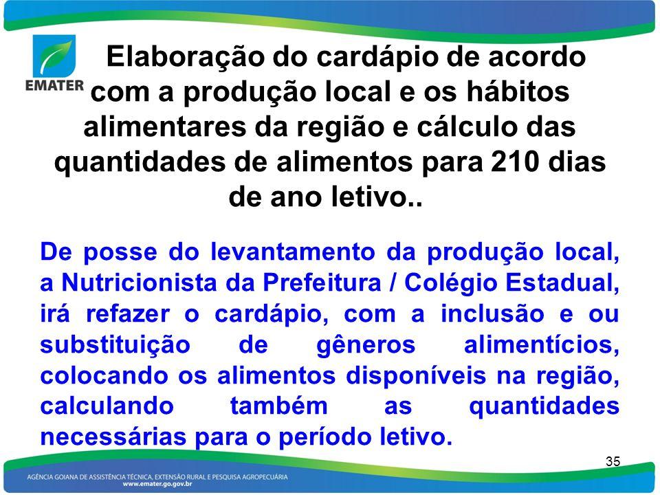 Elaboração do cardápio de acordo com a produção local e os hábitos alimentares da região e cálculo das quantidades de alimentos para 210 dias de ano l