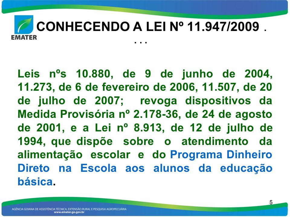 CONHECENDO A LEI Nº 11.947/2009.... Leis nºs 10.880, de 9 de junho de 2004, 11.273, de 6 de fevereiro de 2006, 11.507, de 20 de julho de 2007; revoga