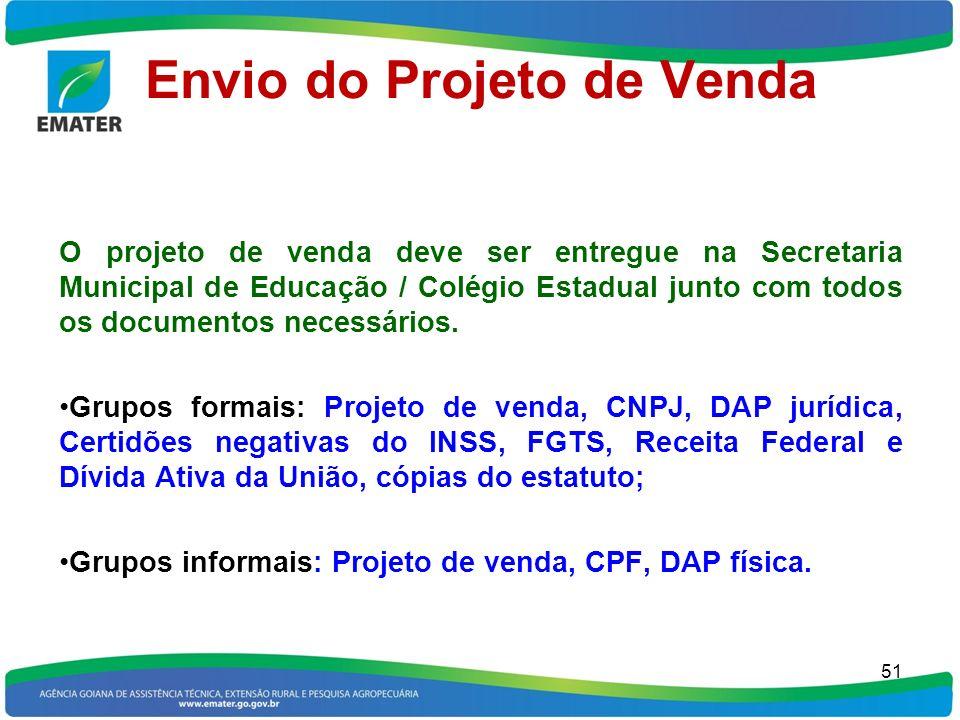 Envio do Projeto de Venda O projeto de venda deve ser entregue na Secretaria Municipal de Educação / Colégio Estadual junto com todos os documentos ne