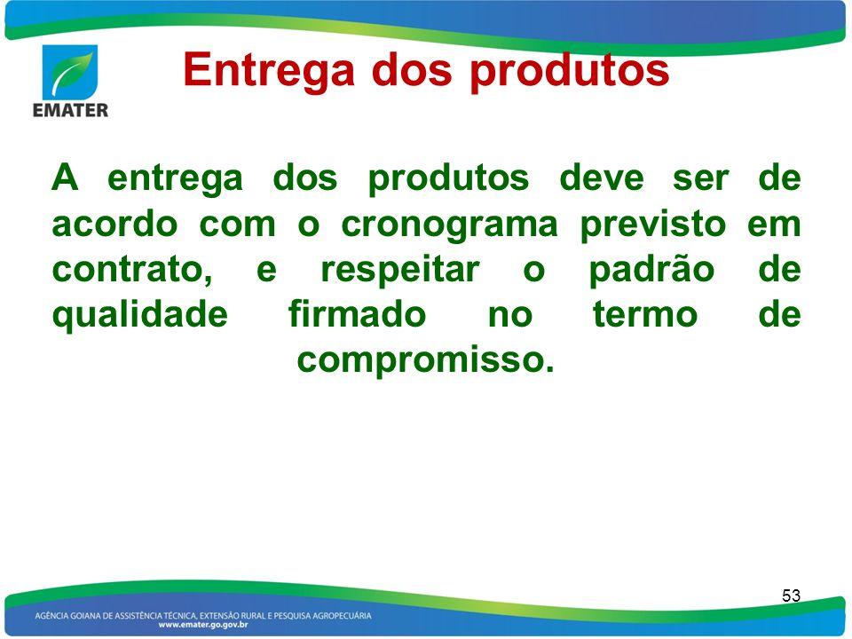 Entrega dos produtos A entrega dos produtos deve ser de acordo com o cronograma previsto em contrato, e respeitar o padrão de qualidade firmado no ter