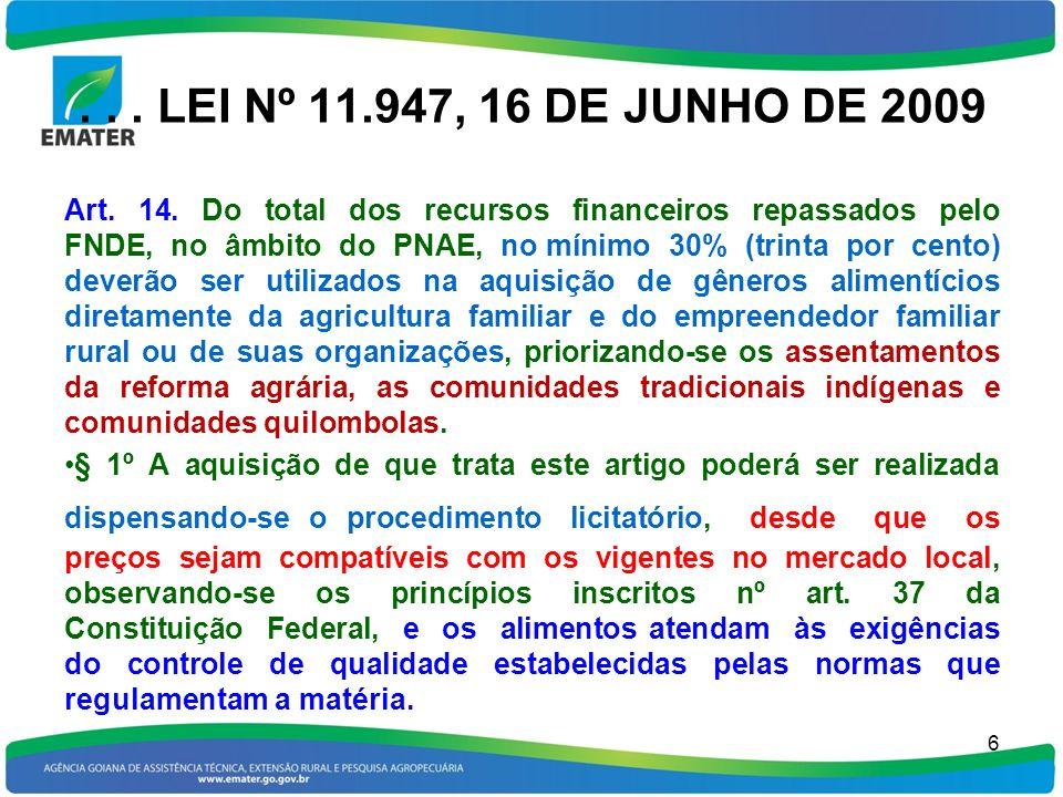 ... LEI Nº 11.947, 16 DE JUNHO DE 2009 Art. 14. Do total dos recursos financeiros repassados pelo FNDE, no âmbito do PNAE, no mínimo 30% (trinta por c