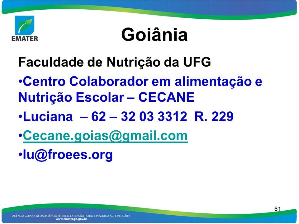 Goiânia Faculdade de Nutrição da UFG Centro Colaborador em alimentação e Nutrição Escolar – CECANE Luciana – 62 – 32 03 3312 R. 229 Cecane.goias@gmail