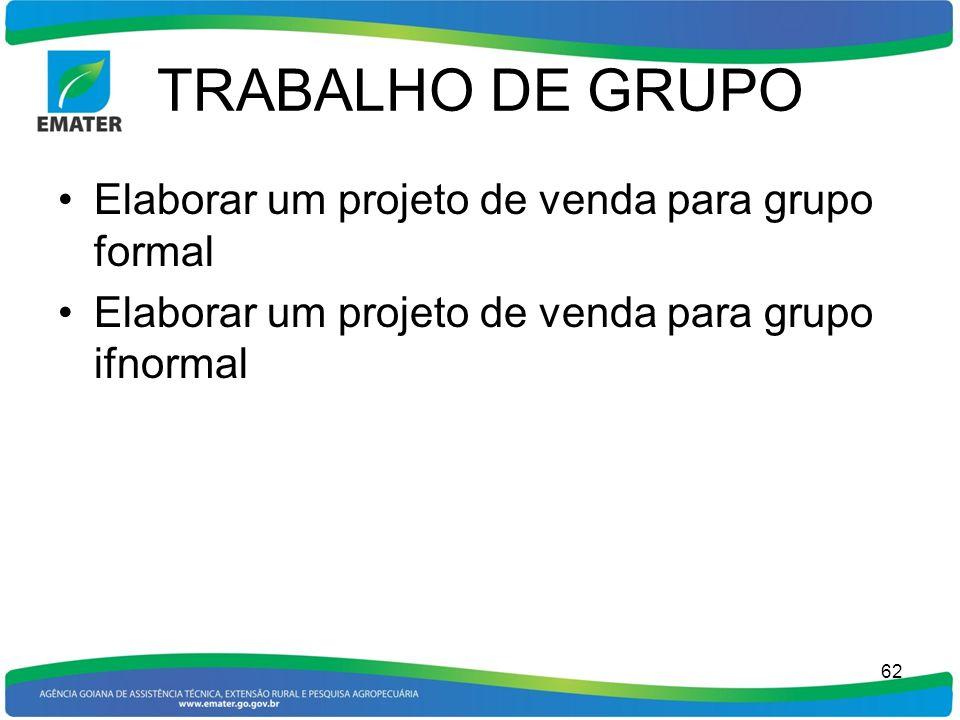 TRABALHO DE GRUPO Elaborar um projeto de venda para grupo formal Elaborar um projeto de venda para grupo ifnormal 62