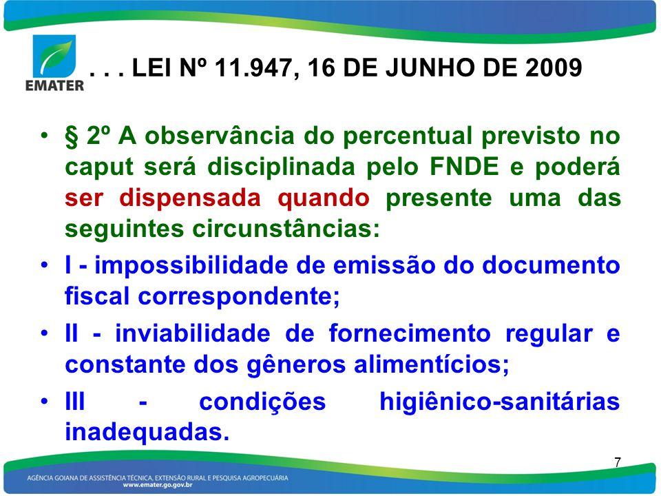 ... LEI Nº 11.947, 16 DE JUNHO DE 2009 § 2º A observância do percentual previsto no caput será disciplinada pelo FNDE e poderá ser dispensada quando p