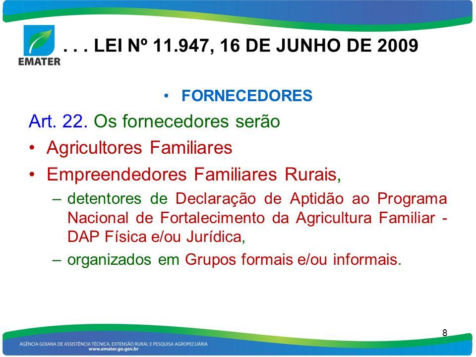 ... LEI Nº 11.947, 16 DE JUNHO DE 2009 FORNECEDORES Art. 22. Os fornecedores serão Agricultores Familiares Empreendedores Familiares Rurais, –detentor