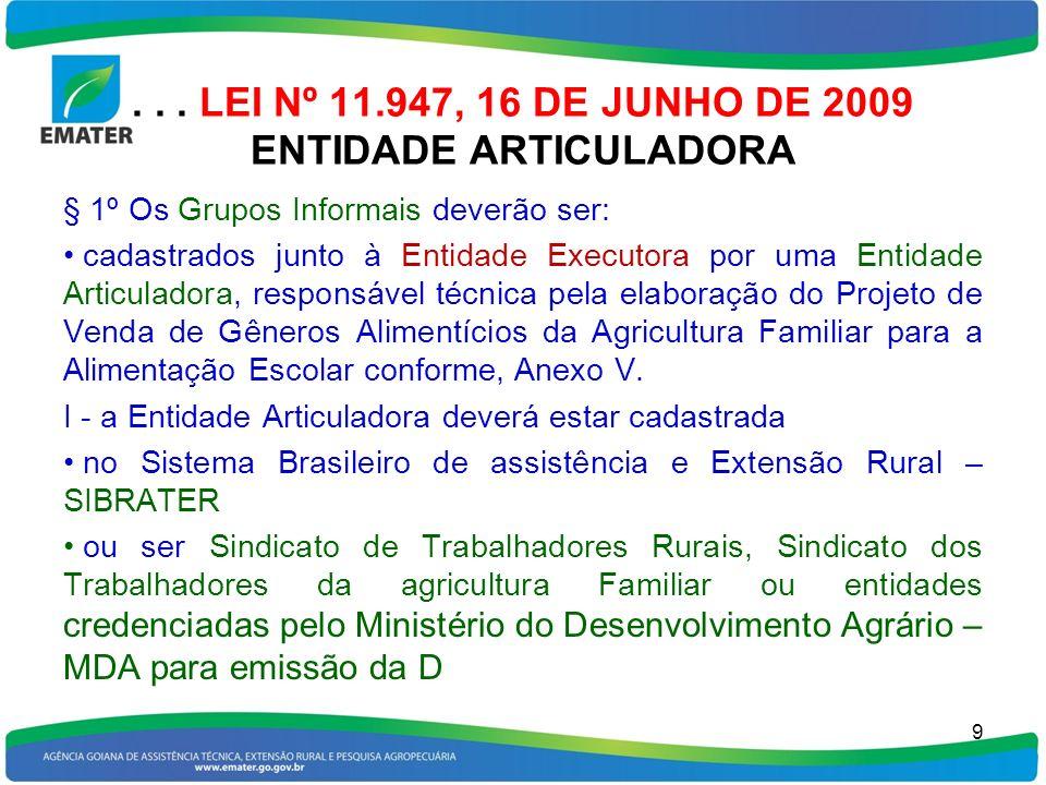 ... LEI Nº 11.947, 16 DE JUNHO DE 2009 ENTIDADE ARTICULADORA § 1º Os Grupos Informais deverão ser: cadastrados junto à Entidade Executora por uma Enti
