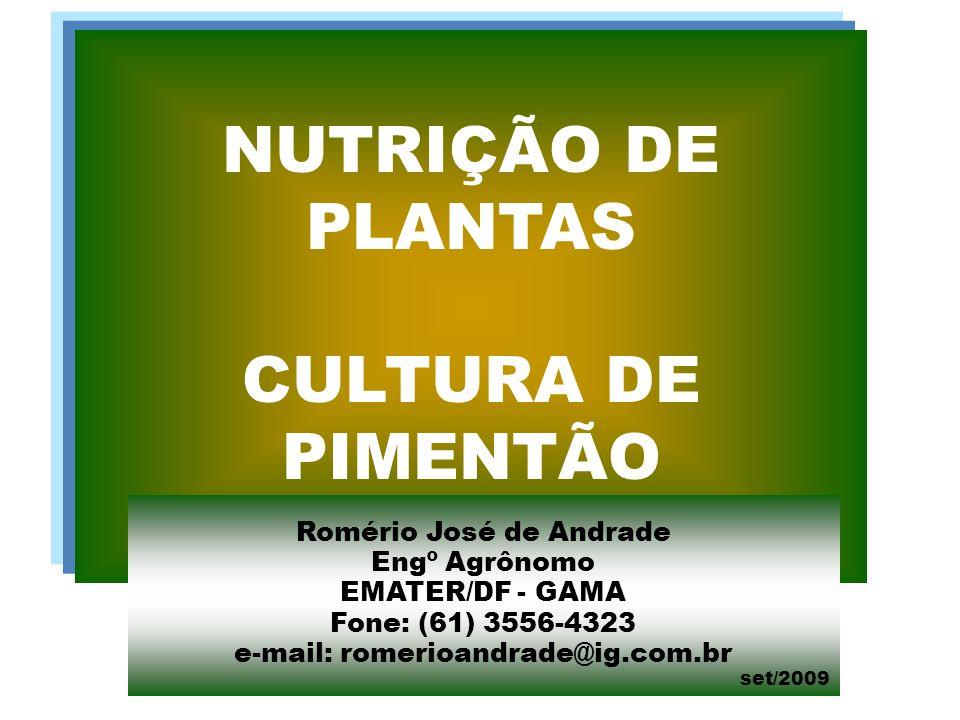 NUTRIÇÃO DE PLANTAS CULTURA DE PIMENTÃO Romério José de Andrade Engº Agrônomo EMATER/DF - GAMA Fone: (61) 3556-4323 e-mail: romerioandrade@ig.com.br set/2009