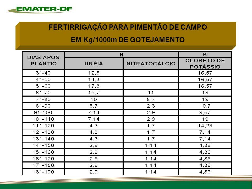 FERTIRRIGAÇÃO PARA PIMENTÃO DE CAMPO EM Kg/1000m DE GOTEJAMENTO
